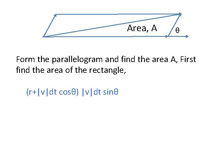 Area, A θ Form the parallelogram and find the area A, First find the
