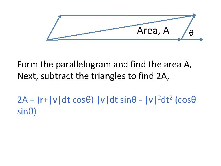 Area, A θ Form the parallelogram and find the area A, Next, subtract the