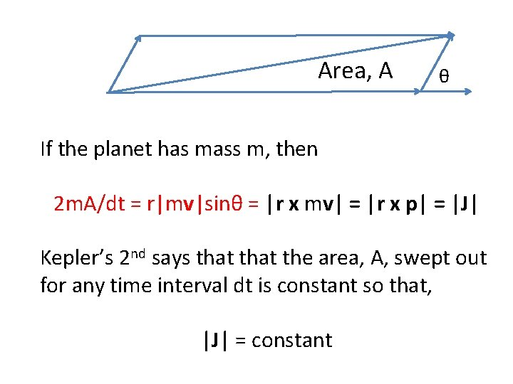 Area, A θ If the planet has mass m, then 2 m. A/dt =