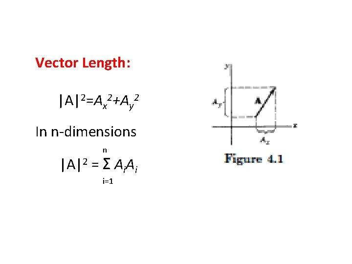 Vector Length: |A|2=Ax 2+Ay 2 In n-dimensions n |A|2 = Σ Ai. Ai i=1