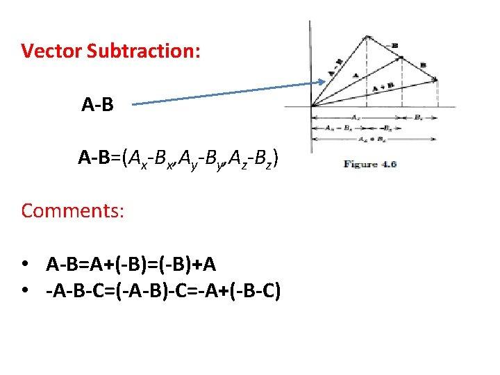 Vector Subtraction: A-B=(Ax-Bx, Ay-By, Az-Bz) Comments: • A-B=A+(-B)=(-B)+A • -A-B-C=(-A-B)-C=-A+(-B-C)