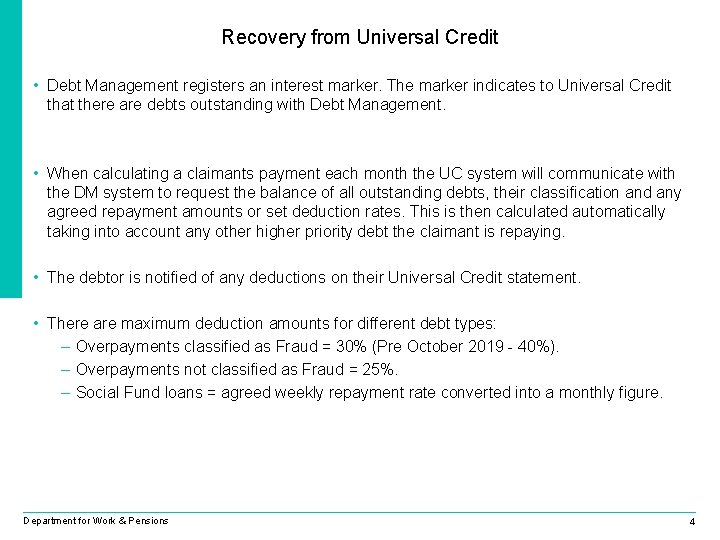 Recovery from Universal Credit • Debt Management registers an interest marker. The marker indicates