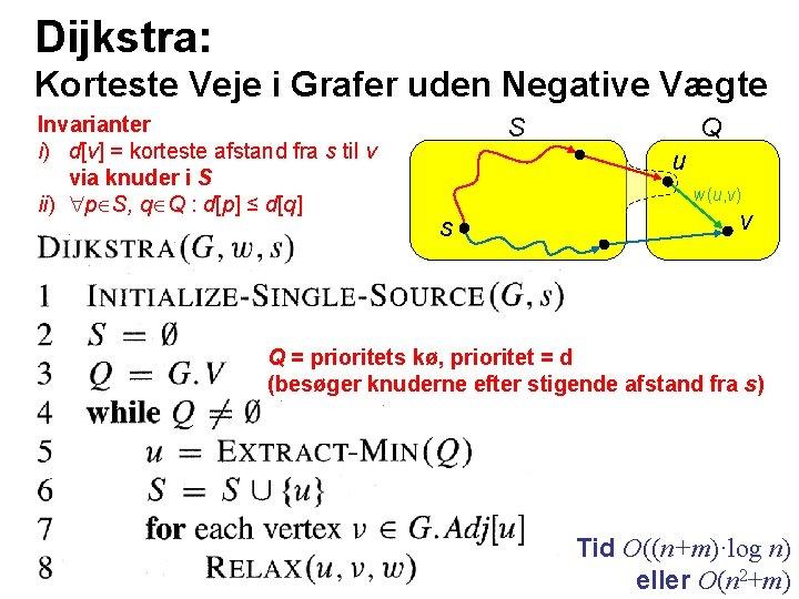 Dijkstra: Korteste Veje i Grafer uden Negative Vægte Invarianter i) d[v] = korteste afstand