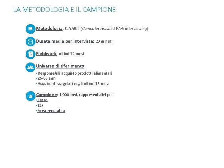 LA METODOLOGIA E IL CAMPIONE Metodologia: C. A. W. I. (Computer Assisted Web Interviewing)