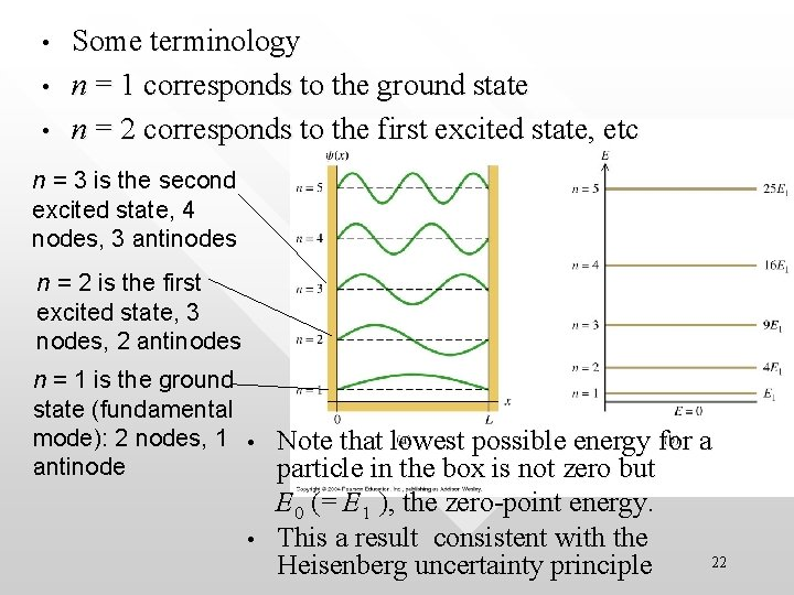 • • • Some terminology n = 1 corresponds to the ground state
