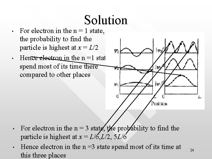 Solution • • For electron in the n = 1 state, the probability to
