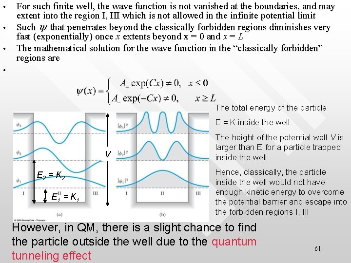 • • • For such finite well, the wave function is not vanished