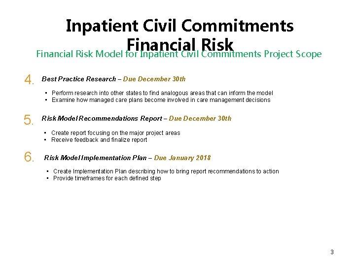 Inpatient Civil Commitments Financial Risk Model for Inpatient Civil Commitments Project Scope 4. Best