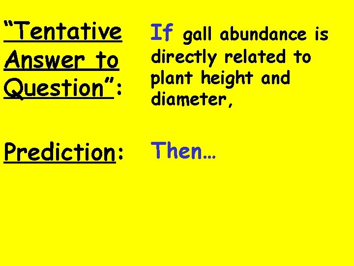 """""""Tentative Answer to Question"""": If gall abundance is Prediction: Then… directly related to plant"""