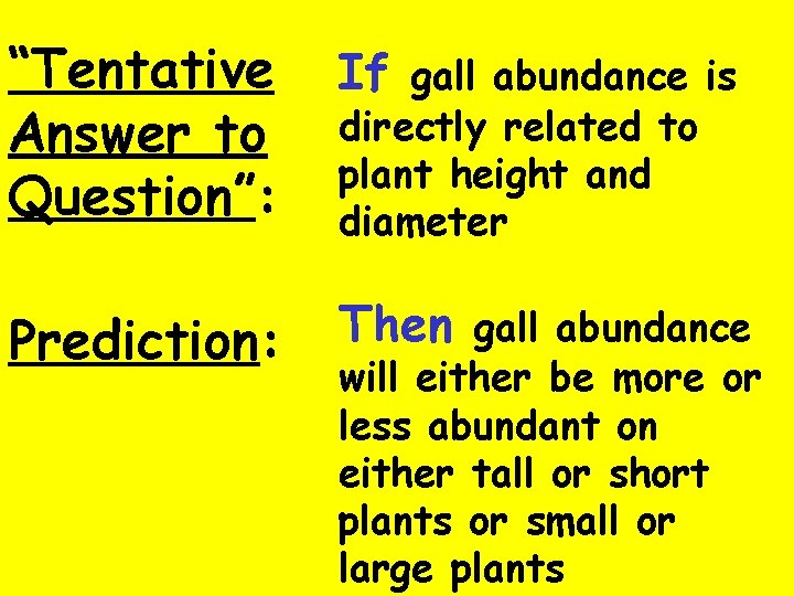 """""""Tentative Answer to Question"""": If gall abundance is Prediction: Then gall abundance directly related"""