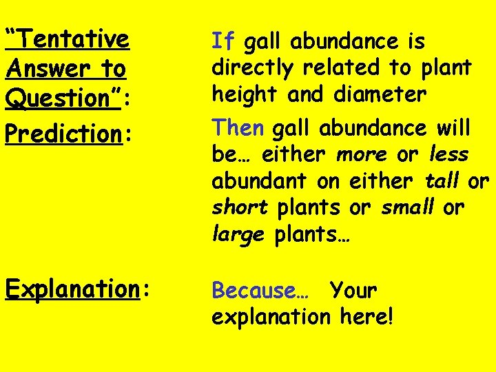"""""""Tentative Answer to Question"""": Prediction: If gall abundance is directly related to plant height"""