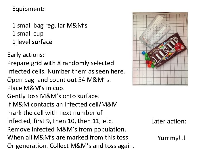 Equipment: 1 small bag regular M&M's 1 small cup 1 level surface Early actions: