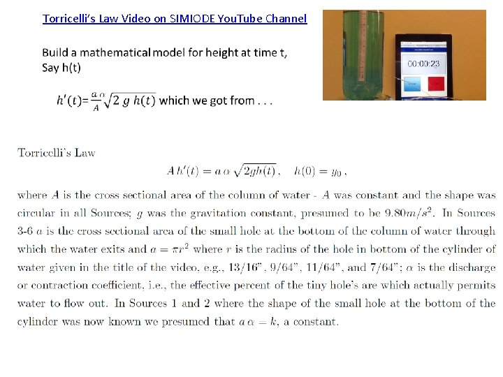 Torricelli's Law Video on SIMIODE You. Tube Channel