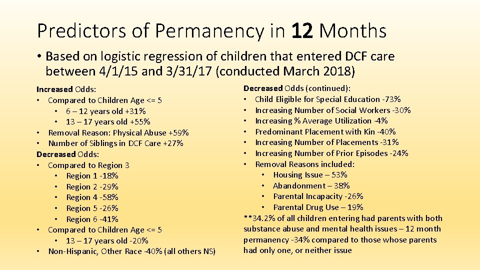 Predictors of Permanency in 12 Months • Based on logistic regression of children that