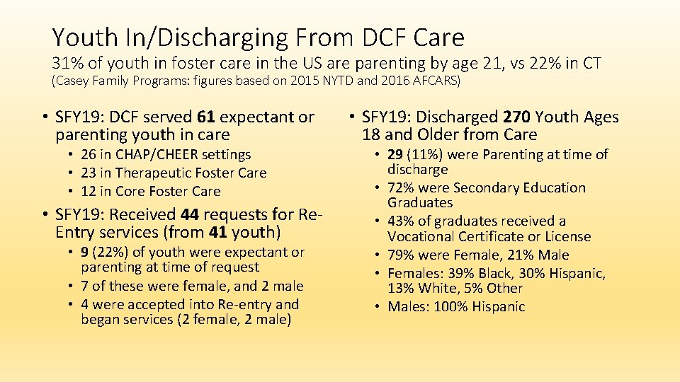 Youth In/Discharging From DCF Care 31% of youth in foster care in the US