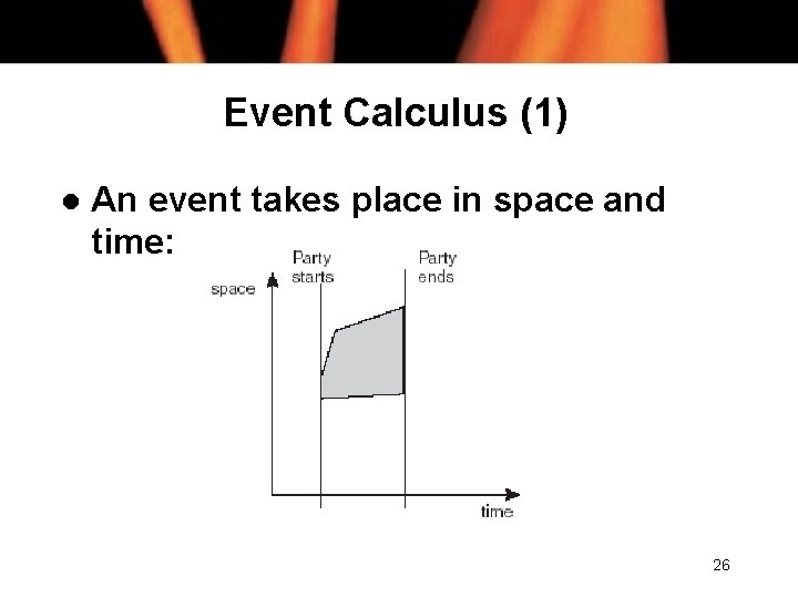 Event Calculus (1) l An event takes place in space and time: 26