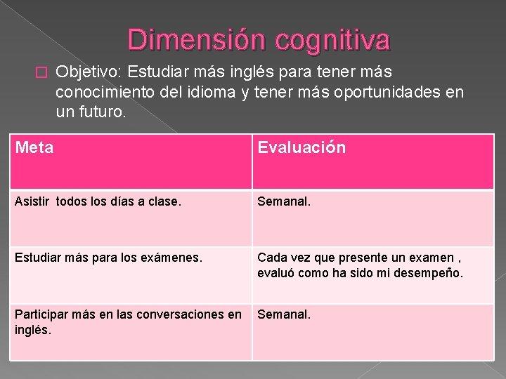 Dimensión cognitiva � Objetivo: Estudiar más inglés para tener más conocimiento del idioma y