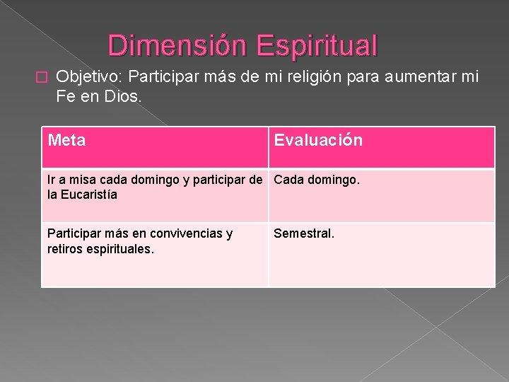 Dimensión Espiritual � Objetivo: Participar más de mi religión para aumentar mi Fe en