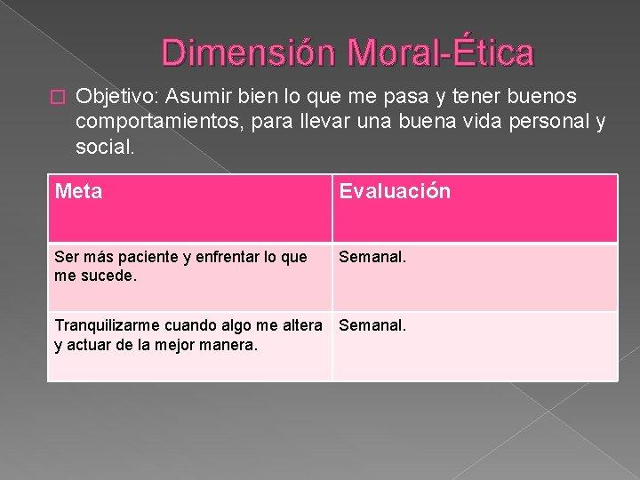 Dimensión Moral-Ética � Objetivo: Asumir bien lo que me pasa y tener buenos comportamientos,