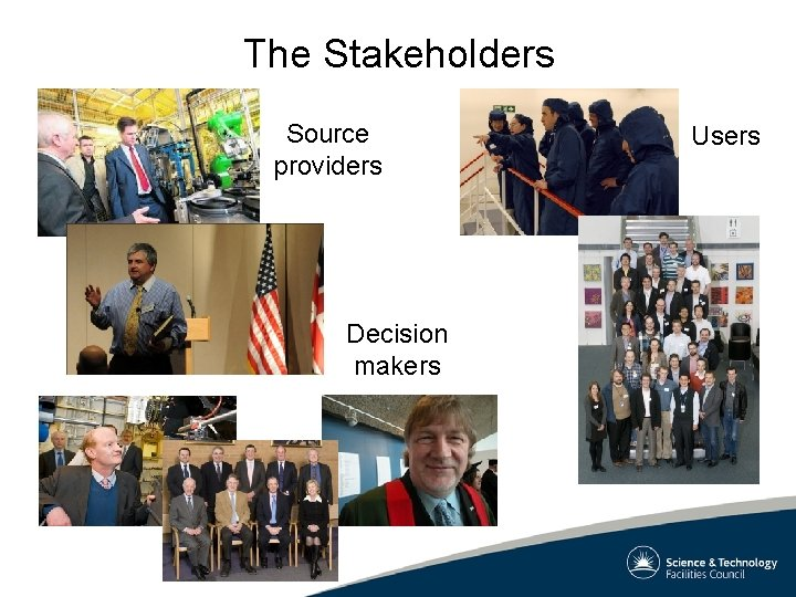 The Stakeholders Source providers Decision makers Users