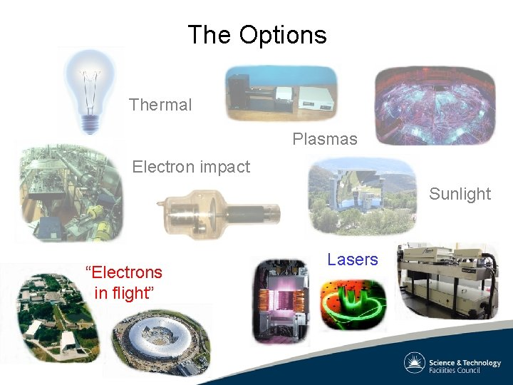 """The Options Thermal Plasmas Electron impact Sunlight """"Electrons in flight"""" Lasers"""
