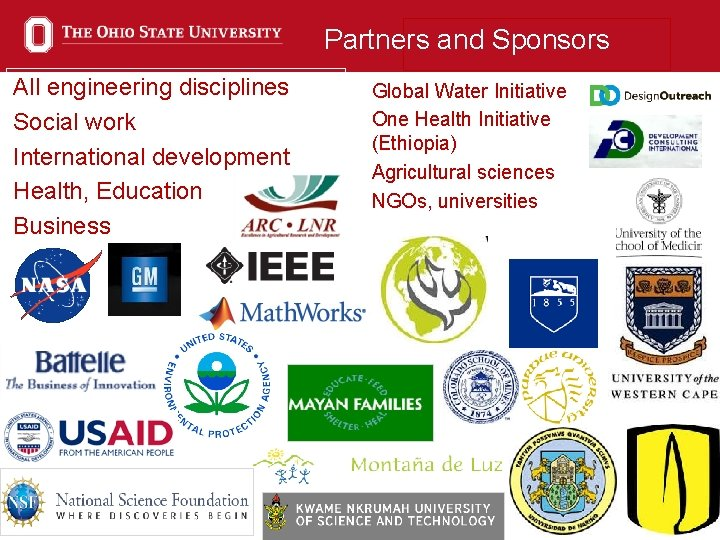 Partners and Sponsors All engineering disciplines Social work International development Health, Education Business Global