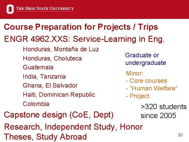 Course Preparation for Projects / Trips ENGR 4962. XXS: Service-Learning in Eng. Honduras, Montaña