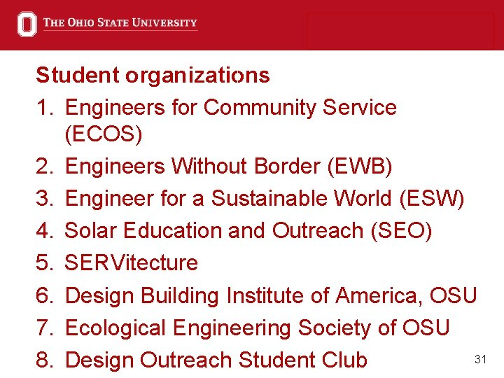 Student organizations 1. Engineers for Community Service (ECOS) 2. Engineers Without Border (EWB) 3.