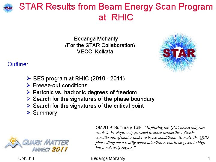 STAR Results from Beam Energy Scan Program at RHIC Bedanga Mohanty (For the STAR