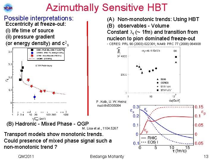 Azimuthally Sensitive HBT Possible interpretations: (A) Non-monotonic trends: Using HBT (B) observables - Volume