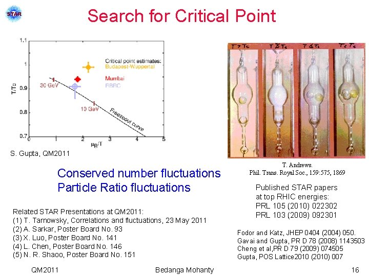 Search for Critical Point S. Gupta, QM 2011 Conserved number fluctuations Particle Ratio fluctuations