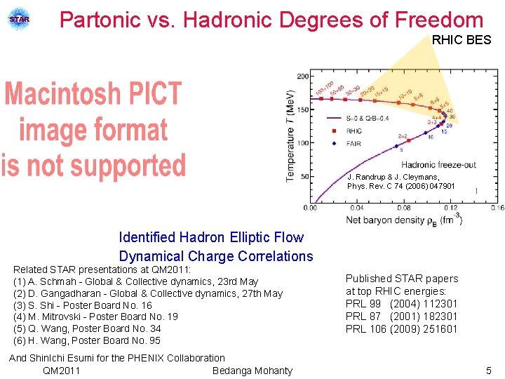 Partonic vs. Hadronic Degrees of Freedom RHIC BES J. Randrup & J. Cleymans, Phys.