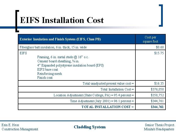 EIFS Installation Cost Exterior Insulation and Finish System (EIFS, Class PB) Fiberglass batt insulation,
