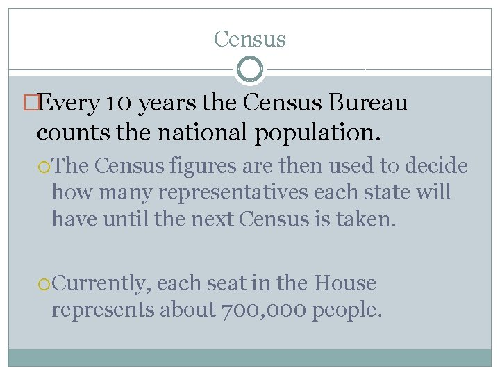 Census �Every 10 years the Census Bureau counts the national population. The Census figures