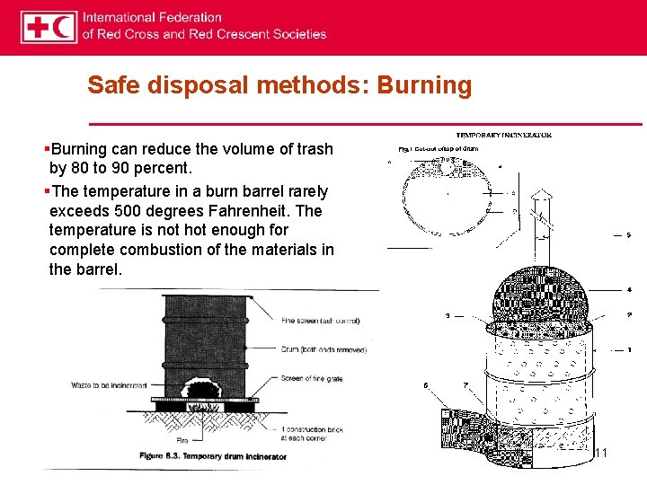 Safe disposal methods: Burning §Burning can reduce the volume of trash by 80 to