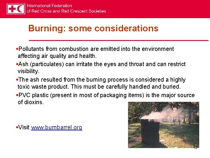 Burning: some considerations §Pollutants from combustion are emitted into the environment affecting air quality