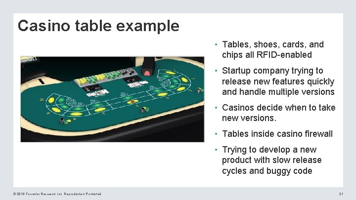 Casino table example • Tables, shoes, cards, and chips all RFID-enabled • Startup company