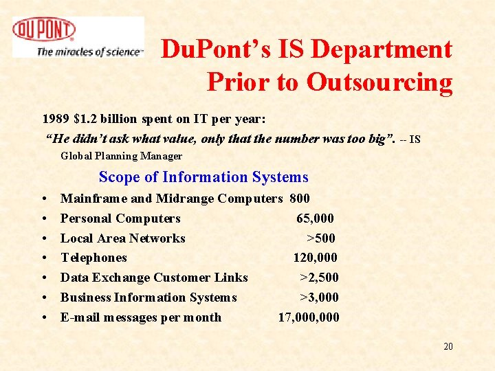 Du. Pont's IS Department Prior to Outsourcing 1989 $1. 2 billion spent on IT