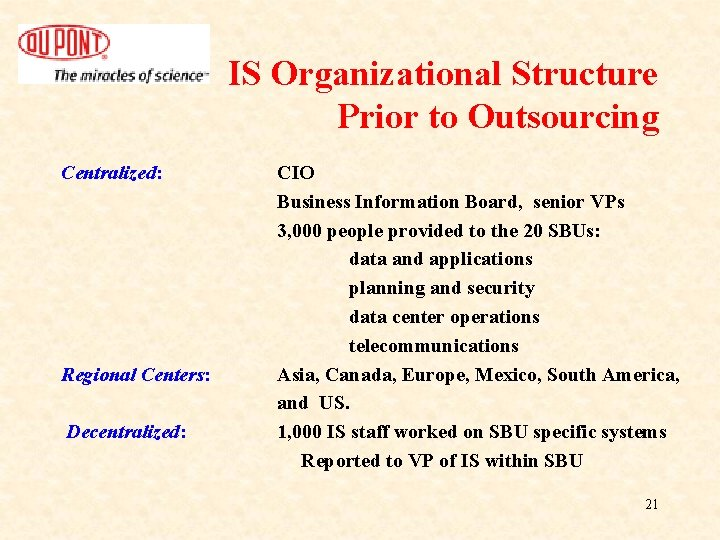 IS Organizational Structure Prior to Outsourcing Centralized: Regional Centers: Decentralized: CIO Business Information Board,
