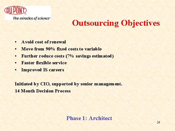 Outsourcing Objectives • • • Avoid cost of renewal Move from 90% fixed costs