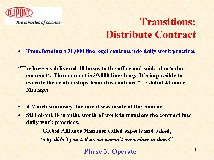 Transitions: Distribute Contract • Transforming a 30, 000 line legal contract into daily work