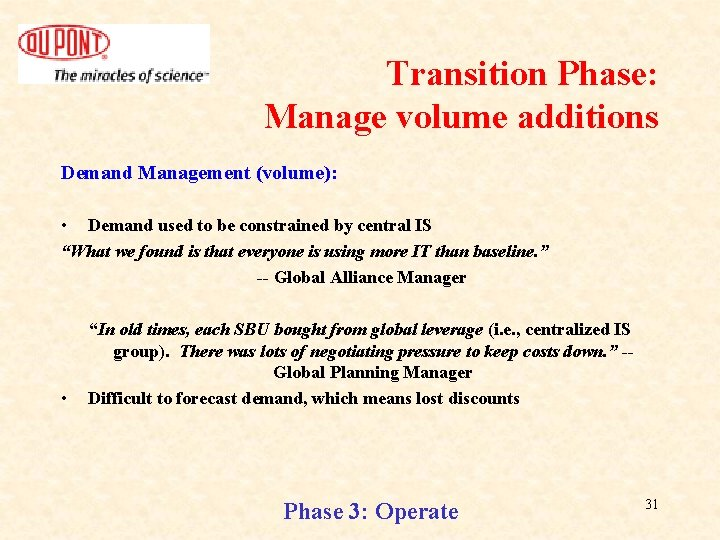 Transition Phase: Manage volume additions Demand Management (volume): • Demand used to be constrained
