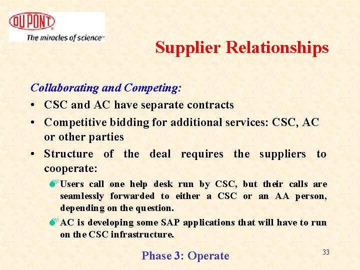 Supplier Relationships Collaborating and Competing: • CSC and AC have separate contracts • Competitive