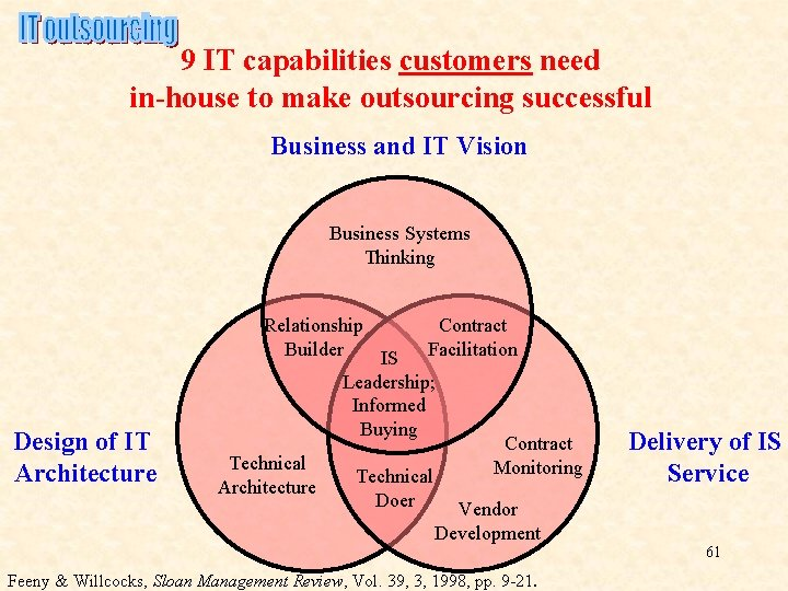 9 IT capabilities customers need in-house to make outsourcing successful Business and IT Vision