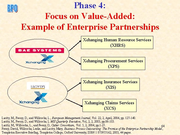 Phase 4: Focus on Value-Added: Example of Enterprise Partnerships Xchanging Human Resource Services (XHRS)