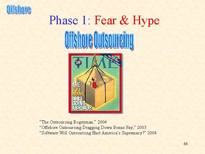 """Phase 1: Fear & Hype """"The Outsourcing Bogeyman, """" 2004 """"Offshore Outsourcing Dragging Down"""
