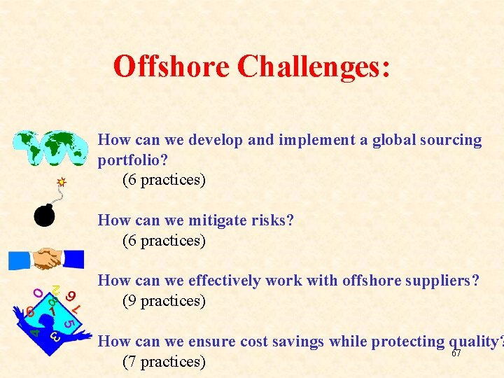 Offshore Challenges: How can we develop and implement a global sourcing portfolio? (6 practices)