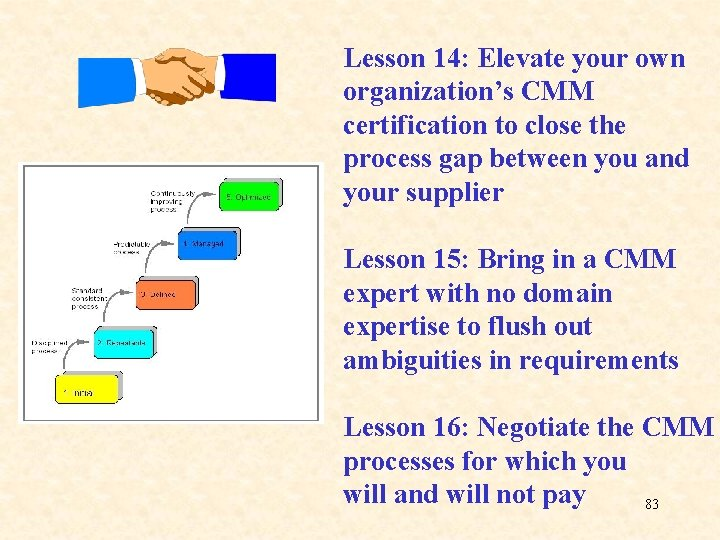 Lesson 14: Elevate your own organization's CMM certification to close the process gap between