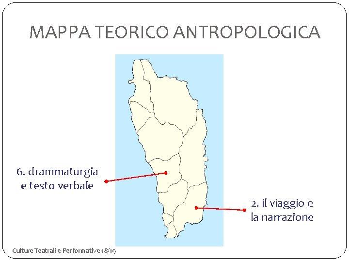 MAPPA TEORICO ANTROPOLOGICA 6. drammaturgia e testo verbale 2. il viaggio e la narrazione