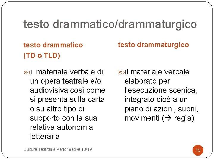 testo drammatico/drammaturgico testo drammatico (TD o TLD) testo drammaturgico il materiale verbale di il
